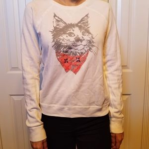 White light sweater with cat print